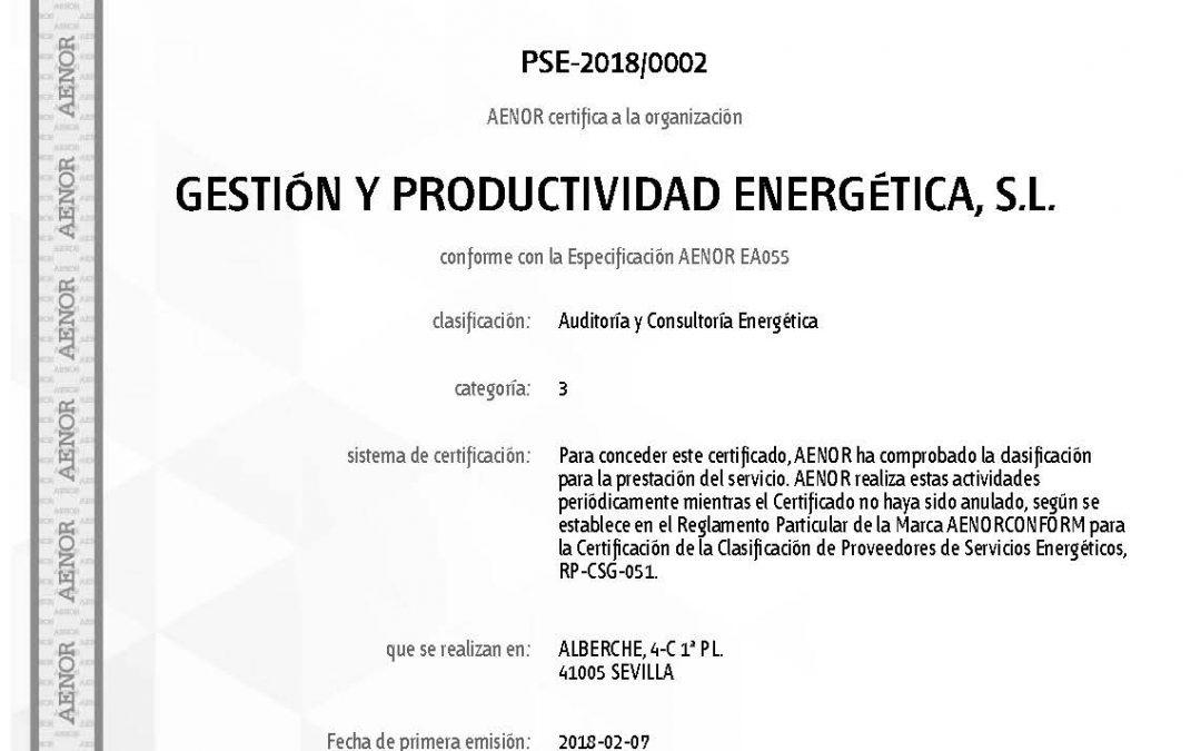 GE&PE ingeniería certificada por AENOR como proveedor de servicios energéticos.
